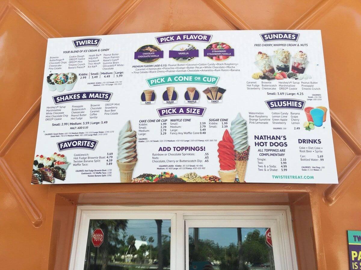 icecream shop board
