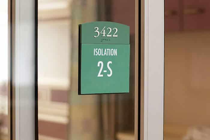 hospital room id sign