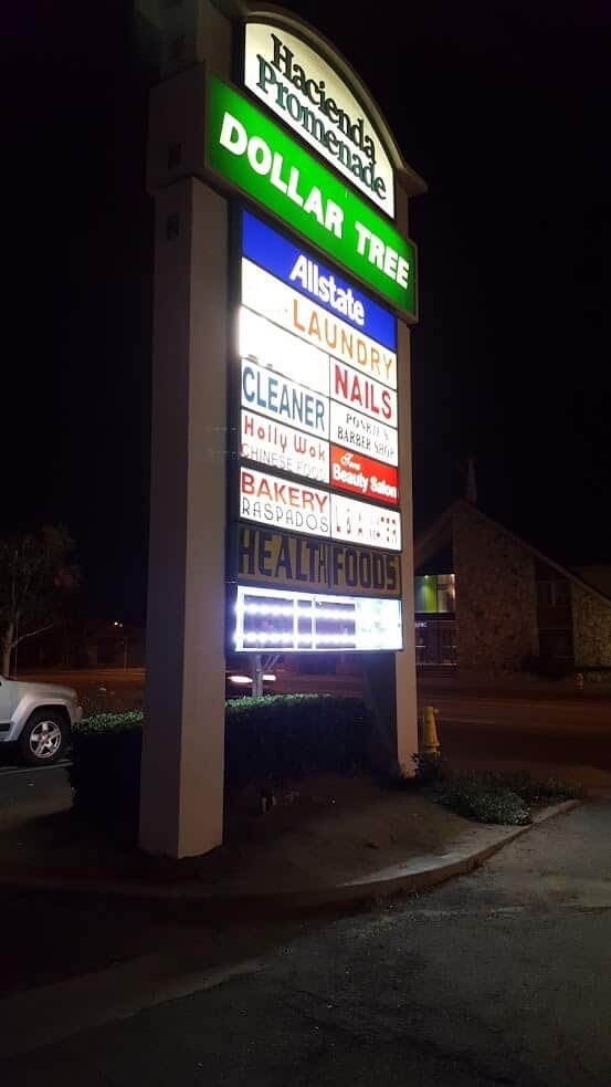 lighted pole sign