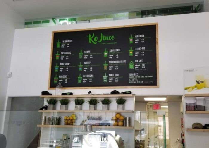 juice corner menu