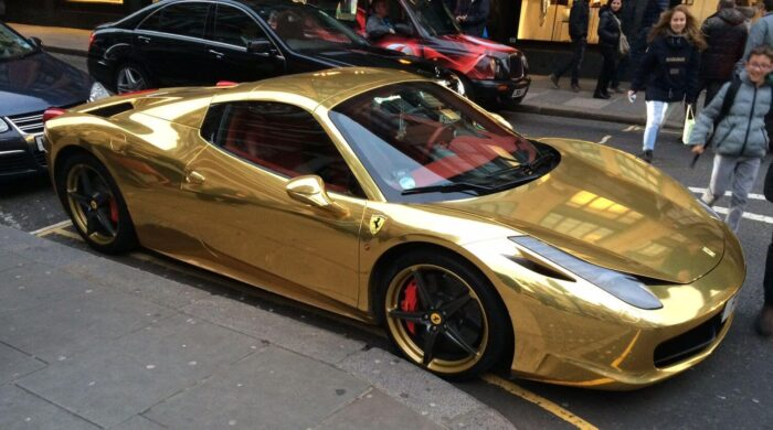 golden car wrap