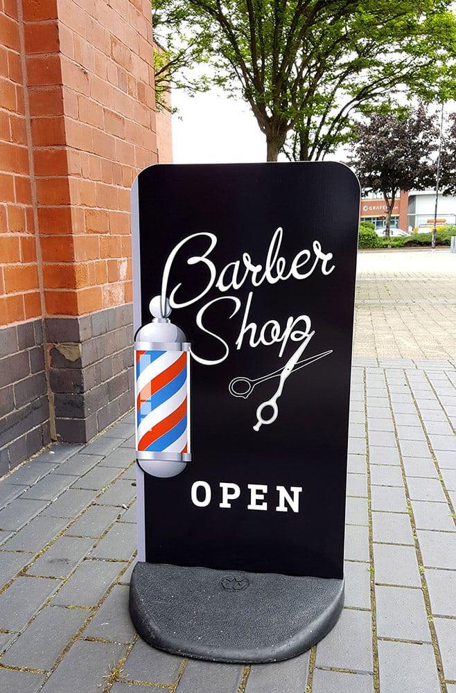 barber roadside sign