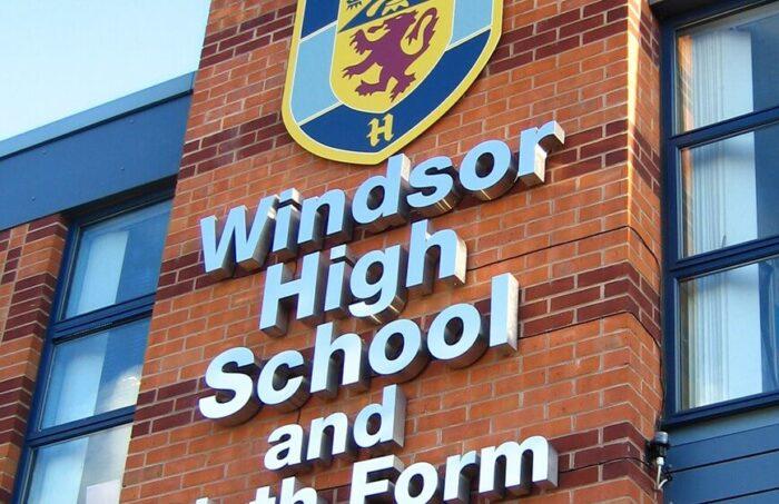 high school sign'